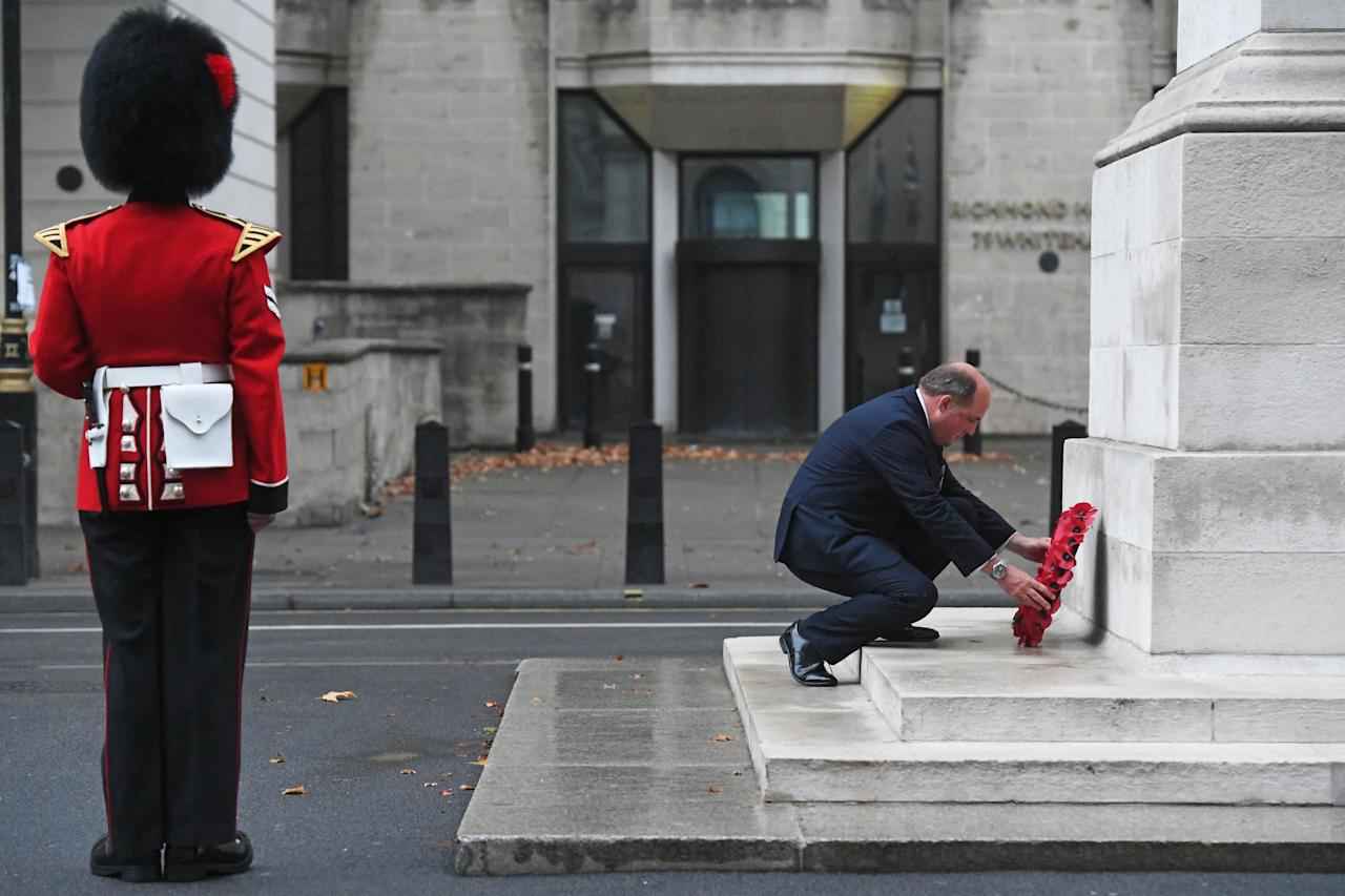 Defence Secretary Ben Wallace lays a wreath at the Centotaph, Whitehall, London, to mark VJ Day. (Photo by Kirsty O'Connor/PA Images via Getty Images)