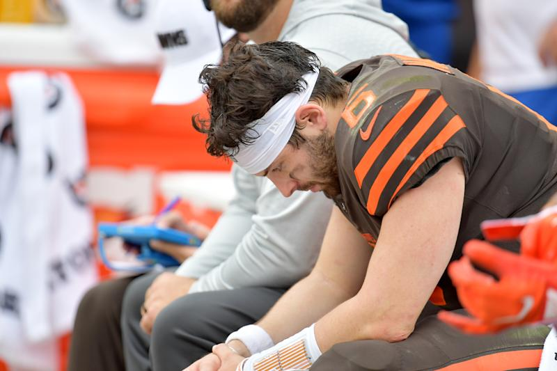 CLEVELAND, OHIO - SEPTEMBER 08: Quarterback Baker Mayfield #6 of the Cleveland Browns hangs his head while on the bench during the second half against the Tennessee Titans at FirstEnergy Stadium on September 08, 2019 in Cleveland, Ohio. The Titans defeated the Browns 43-13. (Photo by Jason Miller/Getty Images)