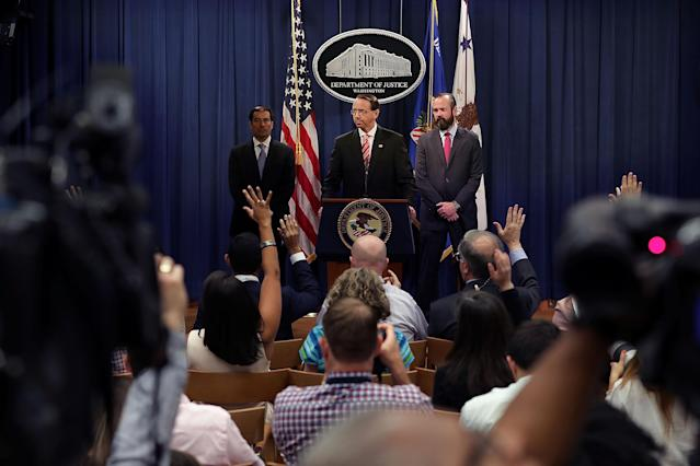 "<span class=""s1"">Deputy Attorney General Rod Rosenstein, center, at the news conference Friday. (Photo: Chip Somodevilla/Getty Images)</span>"