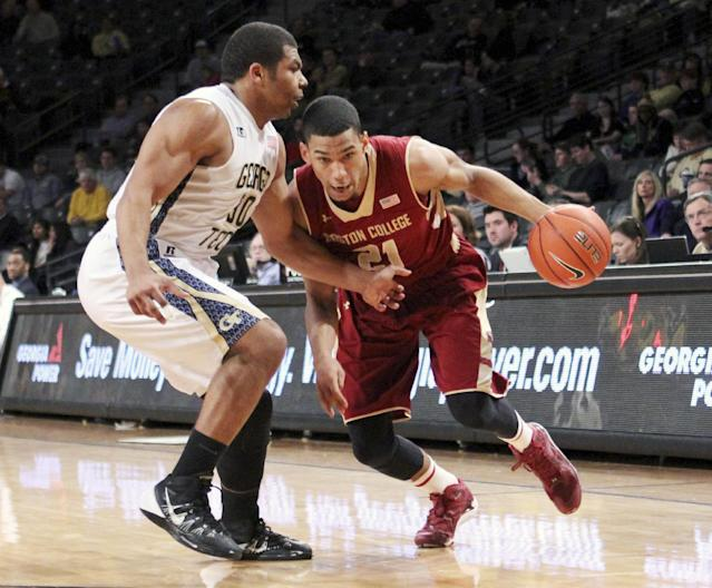Boston College guard Olivier Hanlan, right, drives against Georgia Tech guard Corey Heyward in the first half of an NCAA college basketball game Thursday, Feb. 13, 2014, in Atlanta. (AP Photo/Jason Getz)