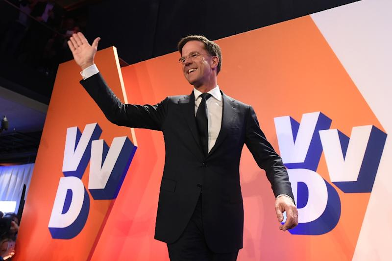 Netherlands' prime minister and VVD party leader Mark Rutte celebrates after winning the general elections in The Hague on March 15, 2017