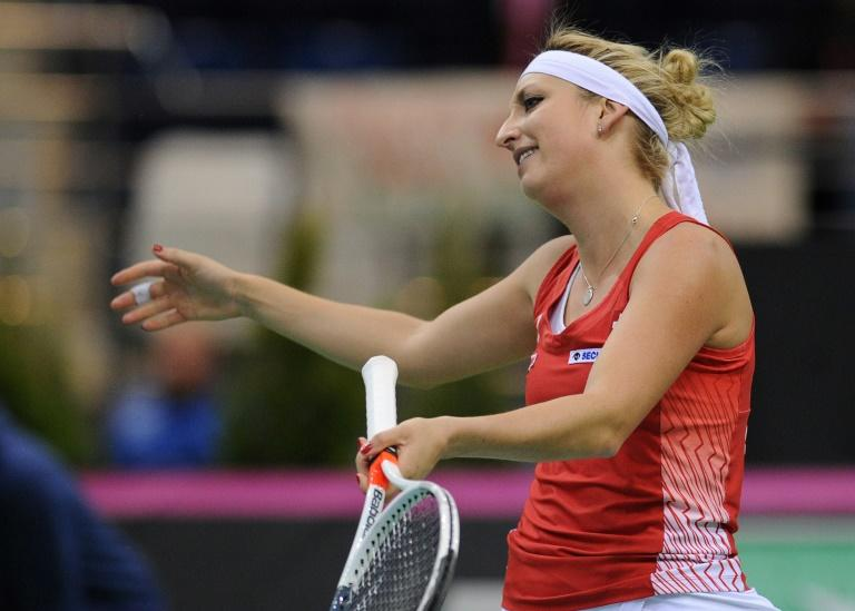 Switzerland's Timea Bacsinszky reacts during her match against Belarus' Aryna Sabalenka during the semi-finals of the Fed Cup tennis competition between Belarus and Switzerland in Minsk on April 22, 2017