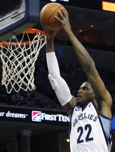 Memphis Grizzlies forward Rudy Gay (22) dunks against the Indiana Pacers in the first half of an NBA basketball game on Friday, Feb. 10, 2012, in Memphis, Tenn. (AP Photo/Alan Spearman)