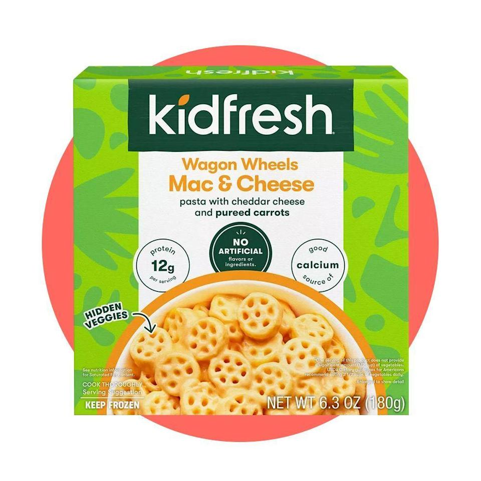 """<p><strong>Kidfresh</strong></p><p>kidfresh.com</p><p><strong>$5.50</strong></p><p><a href=""""https://www.kidfresh.com/collections/all/products/mac-n-cheese"""" rel=""""nofollow noopener"""" target=""""_blank"""" data-ylk=""""slk:Shop Now"""" class=""""link rapid-noclick-resp"""">Shop Now</a></p><p>For picky eaters, the <a href=""""https://www.bestproducts.com/parenting/a29061395/kidfresh-frozen-kids-meals-review/"""" rel=""""nofollow noopener"""" target=""""_blank"""" data-ylk=""""slk:Kidfresh Mac and Cheese"""" class=""""link rapid-noclick-resp"""">Kidfresh Mac and Cheese</a> is a guaranteed crowdpleaser, and our editors have proven it. We love that veggies like pureed carrots are included in the sauce, adding more nutrients and vitamins to the classic, cheesy dish. </p>"""