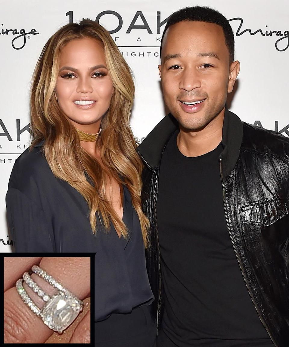 """<p>Singer John Legend proposed to model Chrissy Teigen in the Maldives during Christmastime with a cushion-cut <a rel=""""nofollow noopener"""" href=""""http://www.instyle.com/news/chrissy-teigens-engagement-ring-all-details"""" target=""""_blank"""" data-ylk=""""slk:diamond ring"""" class=""""link rapid-noclick-resp"""">diamond ring</a>. The couple wed in September 2013.</p>"""