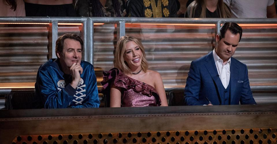 Katherine Ryan with Jimmy Carr and Jonathan Ross on Roast Battle. (Comedy Central)