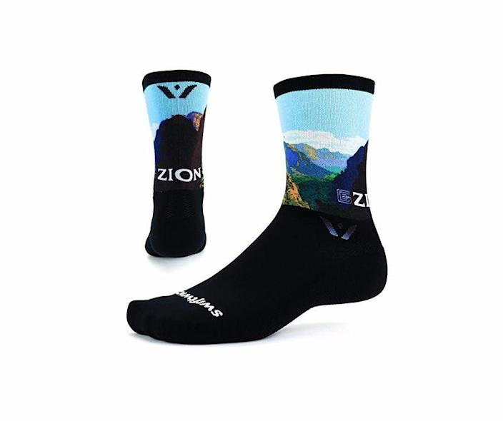"""<p><strong>Swiftwick</strong></p><p>amazon.com</p><p><strong>$19.99</strong></p><p><a href=""""https://www.amazon.com/dp/B08DZQSKSD?tag=syn-yahoo-20&ascsubtag=%5Bartid%7C10060.g.24445809%5Bsrc%7Cyahoo-us"""" rel=""""nofollow noopener"""" target=""""_blank"""" data-ylk=""""slk:Shop Now"""" class=""""link rapid-noclick-resp"""">Shop Now</a></p><p>Whether you know someone who likes to run, bike, or hike, these super-soft, moisture-wicking socks are exactly what they need to stay cool and comfortable. Socks are just as important as the right shoe or boot, but spending $20 on one pair can feel like a tall order—that's why they make perfect gifts. These Swiftwick socks come in a variety of National Park designs, so you can pick their favorite one.</p>"""