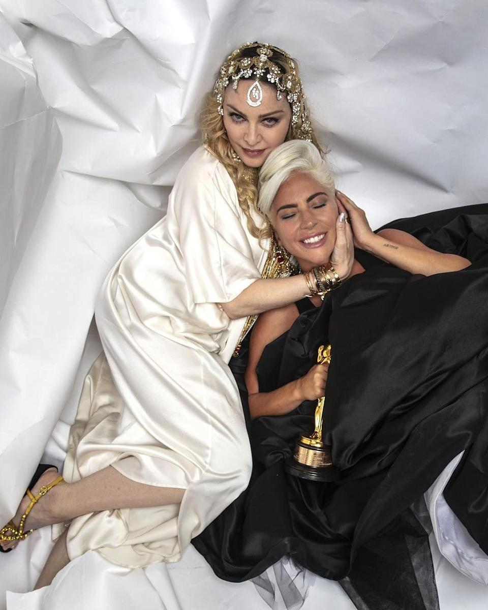 """<p>Gaga then addressed the beef in 2017, saying that although she """"admires [Madonna] no matter what she might think of me,"""" she was bothered by the singer not coming directly to her. """"No matter how much respect I have for her as a performer, I could never wrap my head around the fact that she wouldn't look me in the eye and tell me that I was reductive,"""" she said. Eventually, though, Madonna <a href=""""https://www.oprahmag.com/entertainment/a27373338/madonna-lady-gaga-feud-enemies-interview/"""" rel=""""nofollow noopener"""" target=""""_blank"""" data-ylk=""""slk:cleared the air in 2019"""" class=""""link rapid-noclick-resp"""">cleared the air in 2019</a>, saying that she and Gaga were """"never enemies.""""</p>"""