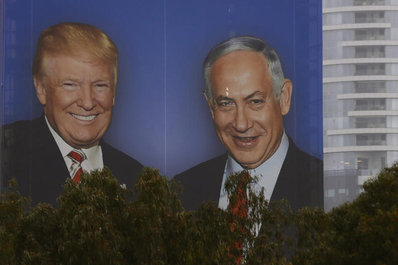 A billboard in Israel shows Donald Trump and Benjamin Netanyahu shaking hands. Netanyahu has used his friendship with Trump as proof of his influence. (Associated Press)