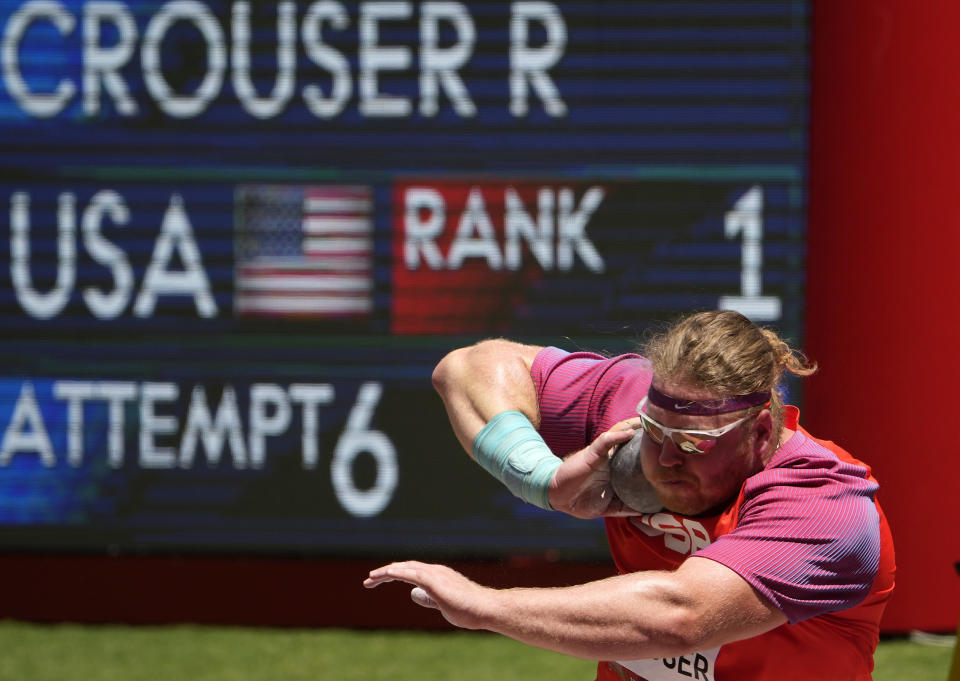 Ryan Crouser, of United States competes in the final of the men's shot put at the 2020 Summer Olympics, Thursday, Aug. 5, 2021, in Tokyo, Japan. (AP Photo/Charlie Riedel)