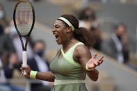 United States Serena Williams react as she plays against United States's Danielle Collins during their third round match on day 6, of the French Open tennis tournament at Roland Garros in Paris, France, Friday, June 4, 2021. (AP Photo/Christophe Ena)