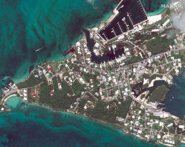 PHOTO: Before Hurricane Dorian struck Marsh Harbor marinas on Great Abaco, Bahamas in a satellite photo taken Oct. 25, 2018. (Maxar Technologies via AP)