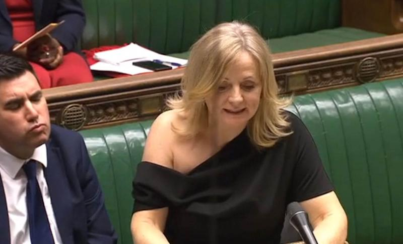 "Tracy Brabin raising a point of order in the Commons on Monday follwing Downing Street's decision to order senior journalists from some of the UK's major news organisations to leave before a briefing on Boris Johnson's Brexit plans. The Labour frontbencher has denied having been ""banged over a wheelie bin"" after she was criticised for wearing an off-the-shoulder dress. (Photo by House of Commons/PA Images via Getty Images)"