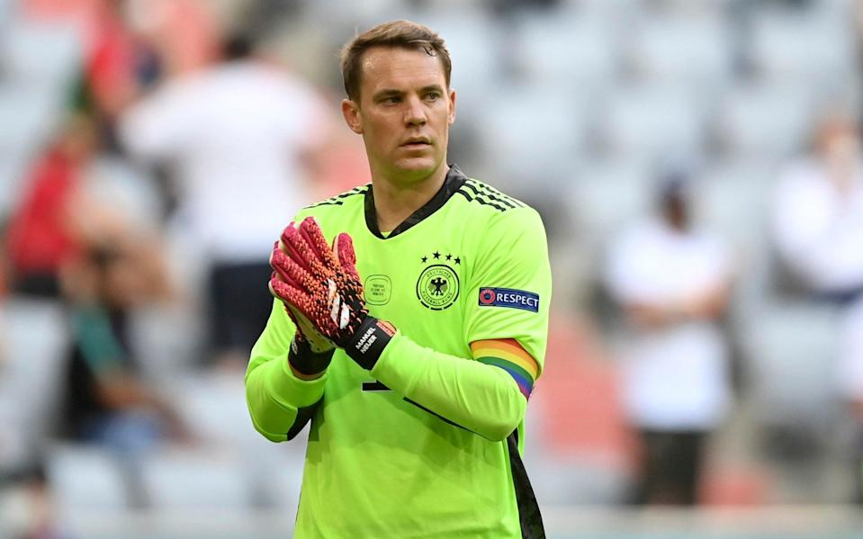 Germany's goalkeeper Manuel Neuer walks on the pitch during the Euro 2020 soccer championship group F match between Portugal and Germany at the Football Arena stadium in Munich, Germany, Saturday, June 19, 2021 - Philipp Guelland/Pool via AP