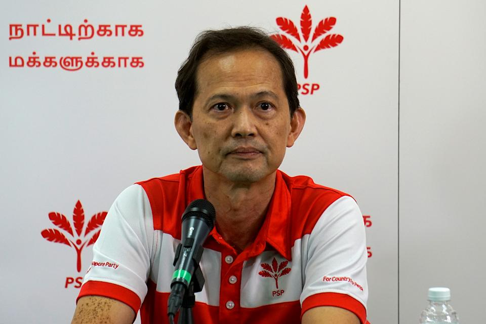 Leong Mun Wai, PSP candidate for West Coast GRC, at a press conference on 14 July 2020. He was announced as one of the party's two picks to take up an NCMP post in in Parliament. (PHOTO: Dhany Osman / Yahoo News Singapore)