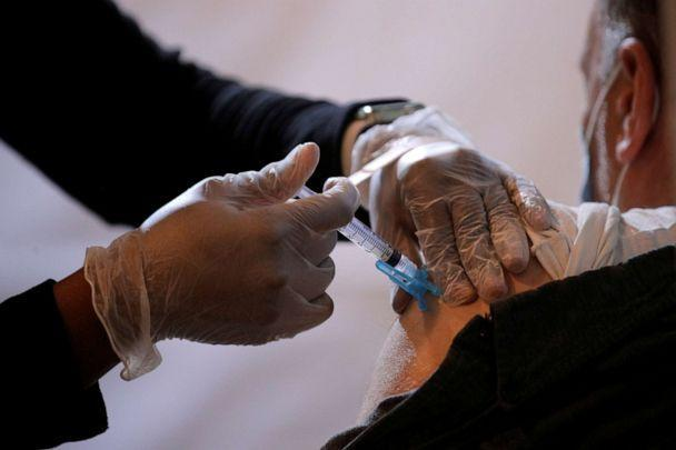 PHOTO: A commuter receives a shot of the Johnson & Johnson vaccine for the coronavirus disease (COVID-19) during the opening of MTA's public vaccination program at a subway station in the Brooklyn borough of New York City, New York, U.S., May 12, 2021.  (Brendan Mcdermid/Reuters)