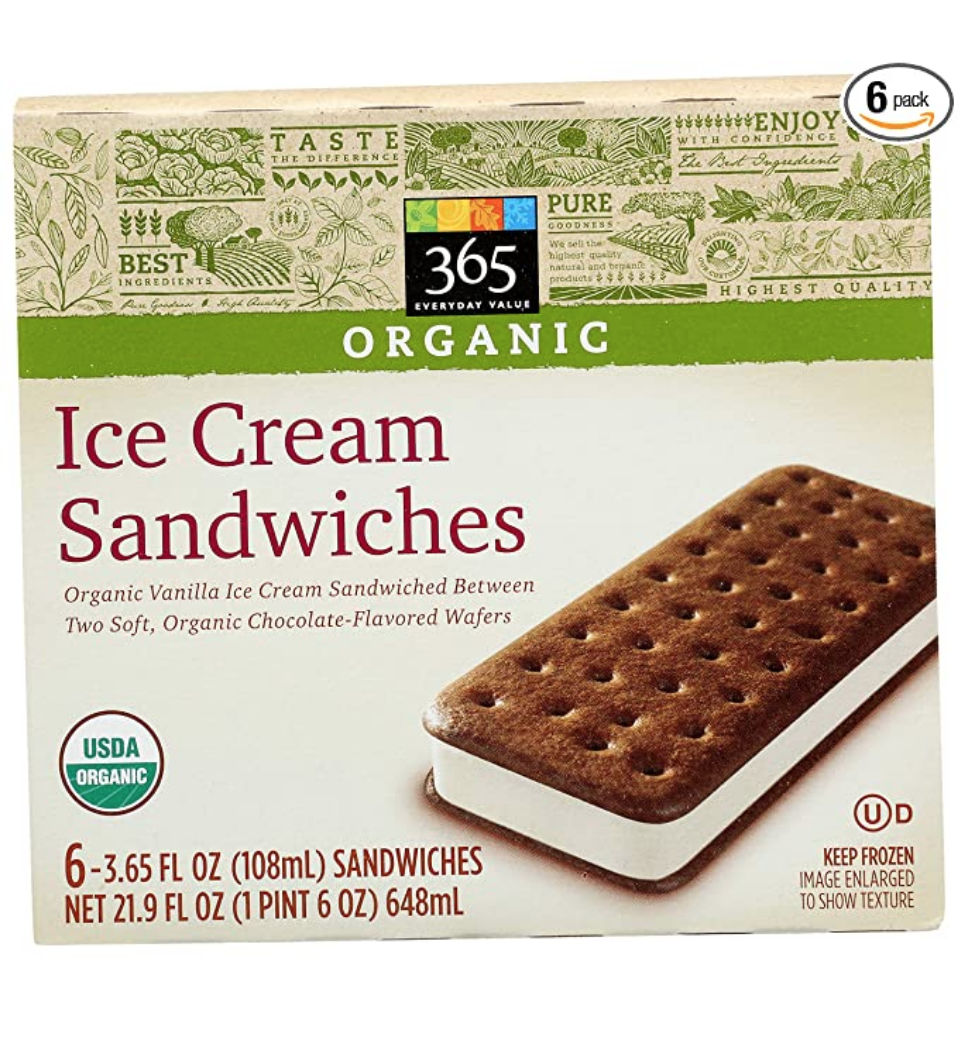 """<p><a class=""""link rapid-noclick-resp"""" href=""""https://www.amazon.com/365-Everyday-Value-Organic-Sandwiches/dp/B074H61R9C?tag=syn-yahoo-20&ascsubtag=%5Bartid%7C10049.g.36302562%5Bsrc%7Cyahoo-us"""" rel=""""nofollow noopener"""" target=""""_blank"""" data-ylk=""""slk:BUY NOW"""">BUY NOW</a></p><p>Who doesn't love ice cream sandwiches? Well, the 365 Whole Foods brand brings you organic ice cream. Beat that.</p>"""