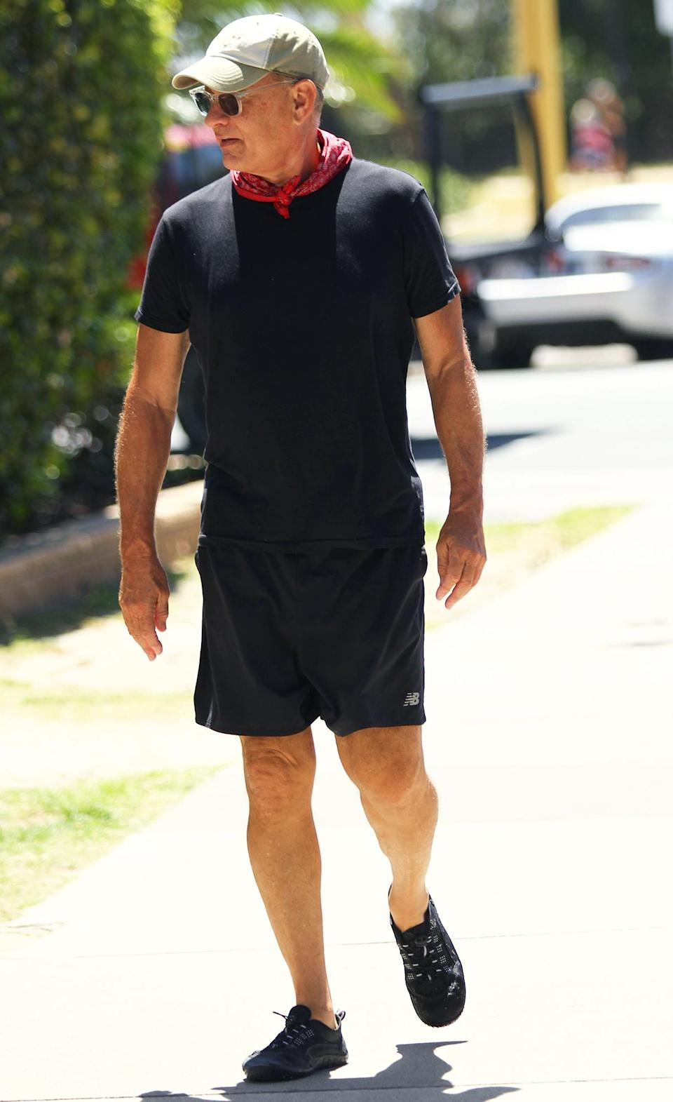 <p>Tom Hanks was seen taking a walk and a break from his Elvis Presley biopic on the Gold Coast in Australia.</p>