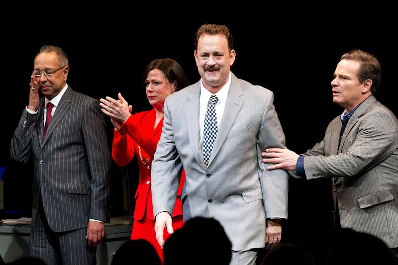 """This April 1, 2013 file photo shows, from left, George C. Wolfe, Maura Tierney, Tom Hanks and Peter Scolari at the Lucky Guy Opening Night, in New York. Hanks received a Tony nomination for best leading actor in a play, Tuesday, April 30, for his role in """"Lucky Guy."""" The awards will be broadcast on CBS from Radio City Music Hall on June 9.  (Photo by Dario Cantatore/Invision/AP, file)"""