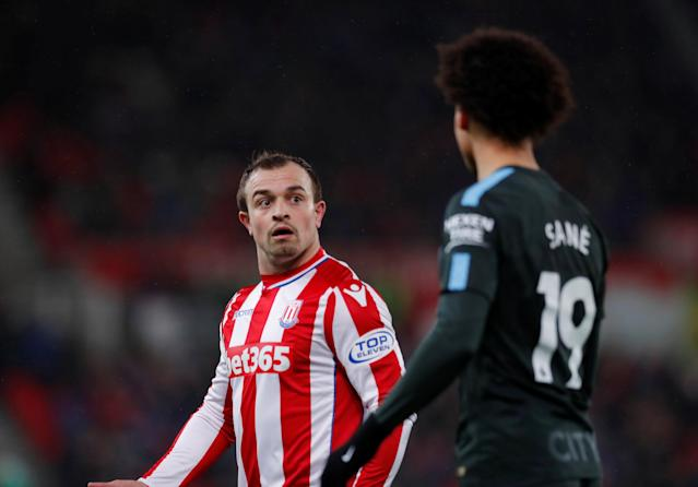 "Soccer Football - Premier League - Stoke City vs Manchester City - bet365 Stadium, Stoke-on-Trent, Britain - March 12, 2018 Manchester City's Leroy Sane remonstrates with Stoke City's Xherdan Shaqiri Action Images via Reuters/Andrew Couldridge EDITORIAL USE ONLY. No use with unauthorized audio, video, data, fixture lists, club/league logos or ""live"" services. Online in-match use limited to 75 images, no video emulation. No use in betting, games or single club/league/player publications. Please contact your account representative for further details."