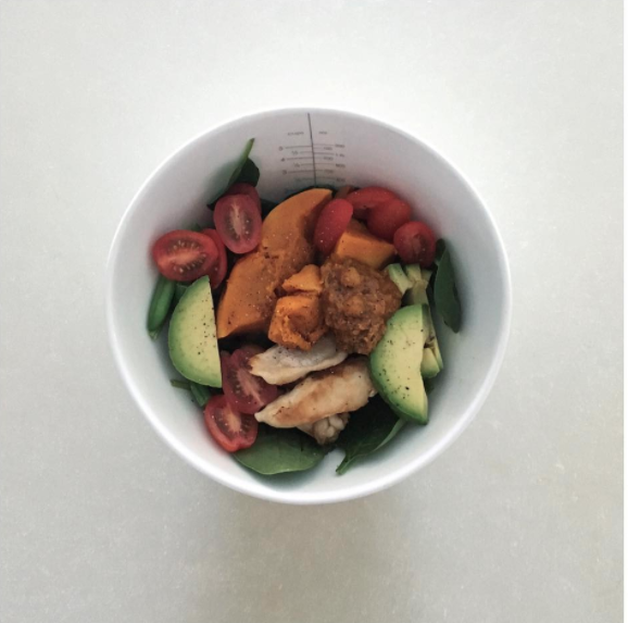 She posted an image to Instagram showing her lunch as she tries to 'reverse-diet'. Photo: Instagram
