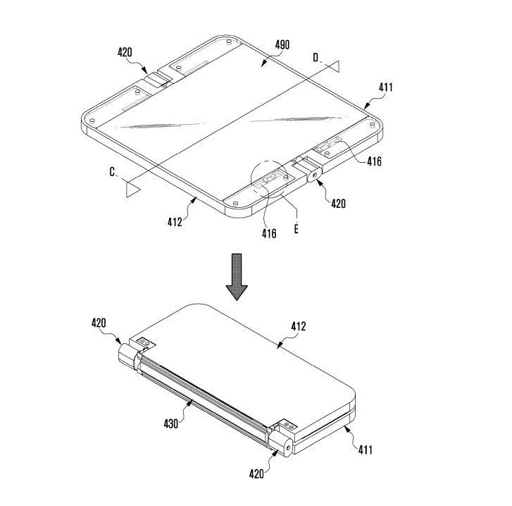 Samsung's flexible device patent could result in a foldable phone. Credit: USPTO
