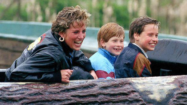 PHOTO: Diana, Princess of Wales, Prince William and Prince Harry visit Thorpe Park Amusement Park, April 13, 1993. (Julian Parker/UK Press via Getty Images)