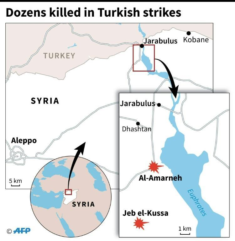Map of northern Syria locating two villages south of Jarabulus where monitors say Turkish air strikes and bombardment killed dozens of civilians on August 28, 2016