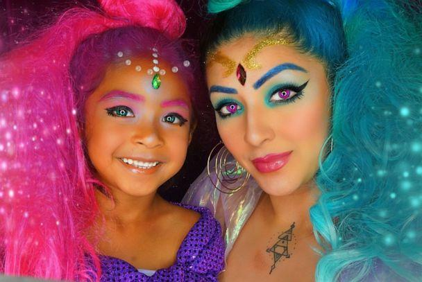 PHOTO: Dehsarae Mahrae and her daughter Khayah bedazzle themselves for this colorful look. (Courtesy Dehsarae Mahrae)