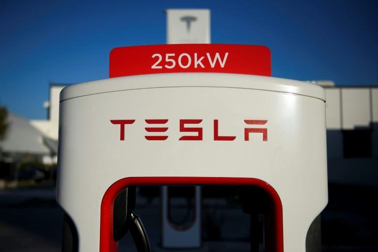A recharging station for Tesla electric cars in Hawthorne, California