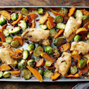 """<p>This easy sheet-pan recipe brings together many fall favorites into a hearty dinner. <a href=""""https://www.eatingwell.com/recipe/259962/maple-roasted-chicken-thighs-with-sweet-potato-wedges-and-brussels-sprouts/"""" rel=""""nofollow noopener"""" target=""""_blank"""" data-ylk=""""slk:View Recipe"""" class=""""link rapid-noclick-resp"""">View Recipe</a></p>"""