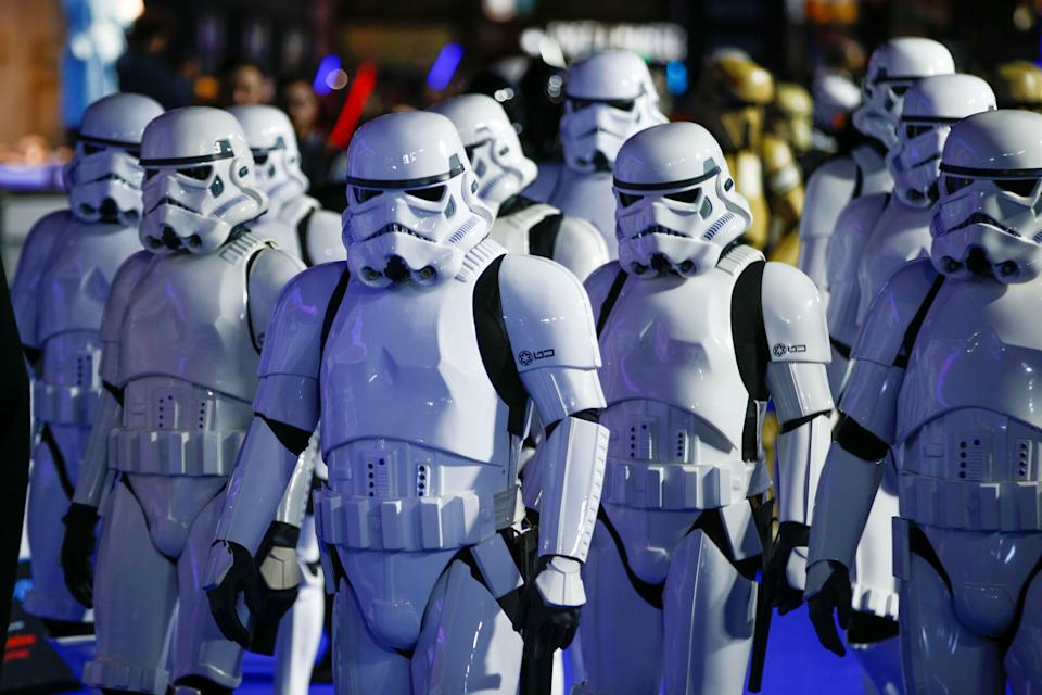 "People dressed as Storm Troopers attend the premiere of ""Star Wars: The Rise of Skywalker"" in London, Britain, December 18, 2019. REUTERS/Henry Nicholls"