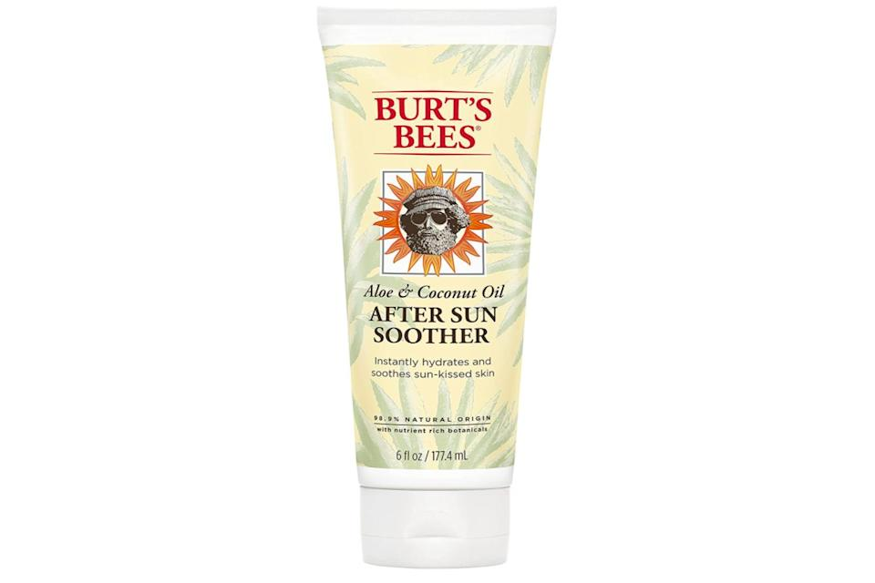 """Made with aloe and coconut oil, this product is meant to hydrate skin and gently relieve pain from the sun's unforgiving rays within just a few hours. Alot of reviewers mentioned this also helped prevent peeling and itching.<br /><br /><strong>Promising review</strong>: """"I suffered from a severe burn that was raw and blistered and tried everything I could to relieve the pain. Out of all the products, this was the best! The product is like a runny lotion which was perfect for me. This allowed for an easy application with little pain.<strong>The cooling sensation was instant and it gave me some mobility back in my shoulders and back.</strong>Before I was so stiff from my burn I had limited movement. After my husband applied the lotion,<strong>my movement was still limited but there was an improvement and much less pain involved.</strong>I have highly sensitive skin and this stuff caused no irritation at all. I do recommend this product and will be sure to always have it on hand during the summer months."""" —<a href=""""https://www.amazon.com/gp/customer-reviews/ROFFTMT4UB00?ie=UTF8&ASIN=B0013L55U0&linkCode=ll2&tag=huffpost-bfsyndication-20&linkId=a88eb8fe454d1cb9de51f16e8a956e1c&language=en_US&ref_=as_li_ss_tl"""" target=""""_blank"""" rel=""""noopener noreferrer"""">Chelsea<br /></a><br /><strong>Get it from Amazon for<a href=""""https://www.amazon.com/Burts-Bees-Coconut-Soother-Sunburn/dp/B0013L55U0?ie=UTF8&linkCode=ll1&tag=huffpost-bfsyndication-20&linkId=19316b436de68abe3ae363cc8423a368&language=en_US&ref_=as_li_ss_tl"""" target=""""_blank"""" rel=""""noopener noreferrer"""">$7.69</a>.</strong>"""