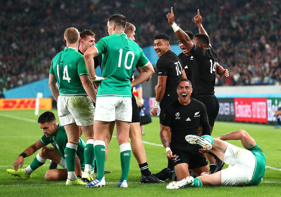New Zealand ran out comfortable winners in their quarter final against Ireland, easing to a 46 - 14 triumph. But this shot is taken early in the match, and the delight on the face of Aaron Smith after scoring the All Blacks' second try is clear to see. Stu Forster (Getty Images) took the shot.