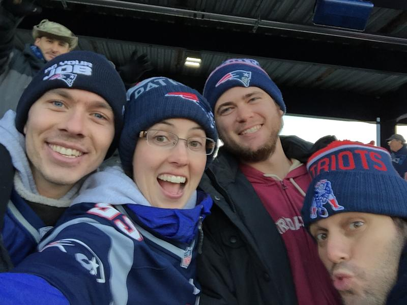 Erin Reeves (middle) is loyal to the Patriots. (Special to Yahoo Sports)