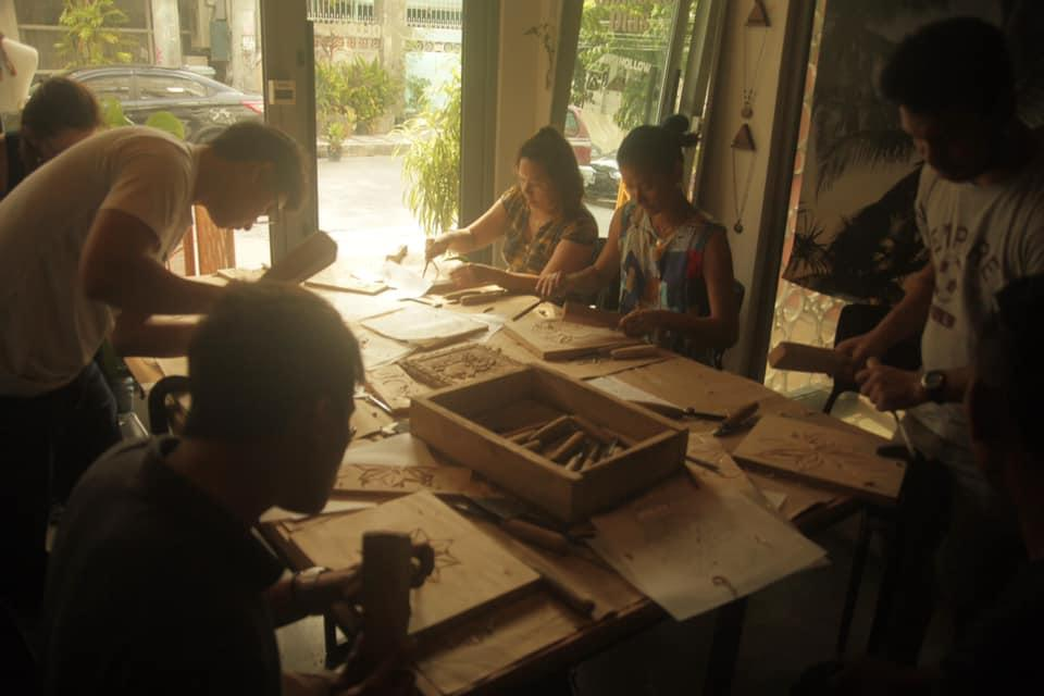From a previous workshop on wood engraving <i>Photo: Pineapple Lab</i>