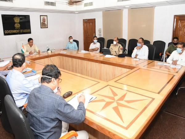 Visuals from Assam Chief Minister Sarbananda Sonowal's meeting with DCs and SPs (Photo/CMO twitter)