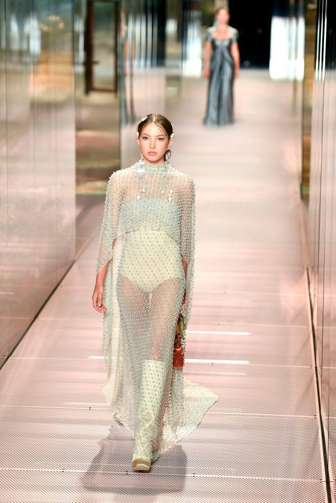 Lila Grace walked the Fendi catwalk. (Getty Images)