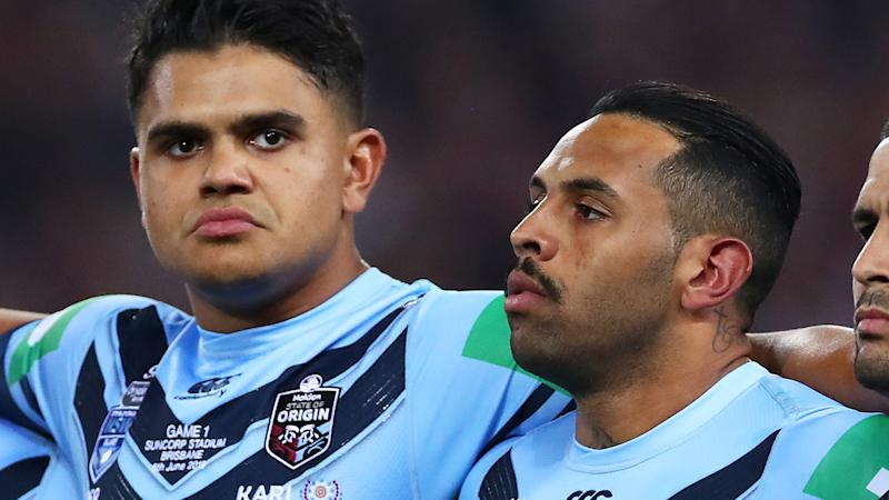 Latrell Mitchell and Josh Addo-Carr, pictured here looking on before State of Origin in 2019.