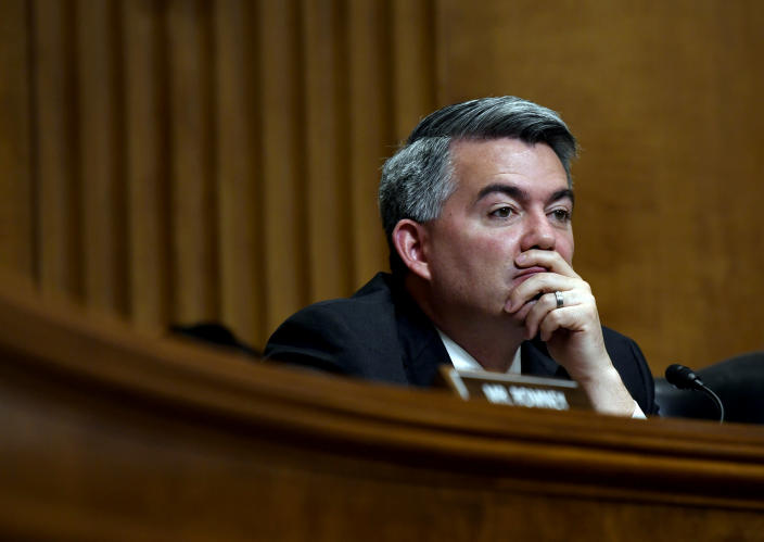 Image: Sen. Cory Gardner, R-Colo., listens to testimony during a hearing on Capitol Hill on April 10, 2019. (Susan Walsh / AP file)