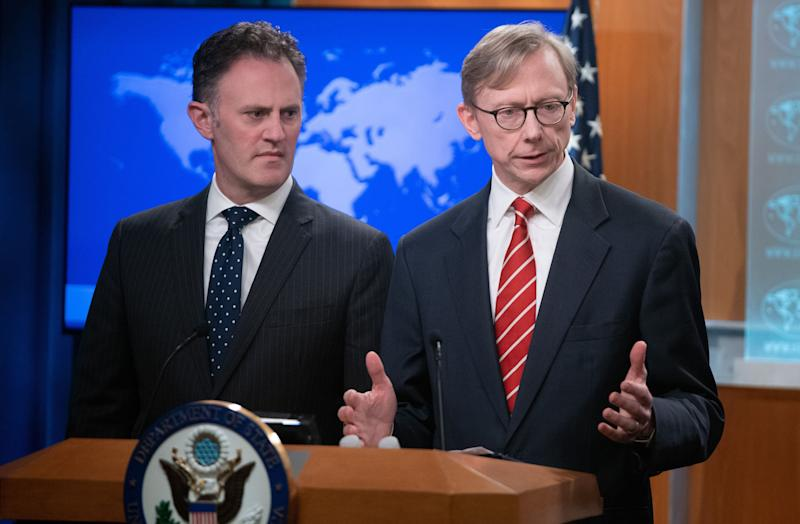 Brian Hook (R), US Special Representative for Iran, and Ambassador Nathan Sales (L), State Department Coordinator for Counterterrorism, speak after US Secretary of State Mike Pompeo announced that the US will designate Iran's Islamic Revolutionary Guard Corps (IRGC) as a Foreign Terrorist Organization (FTO) during a press conference at the State Department in Washington, DC, April 8, 2019. (Photo: Saul Loeb/AFP/Getty Images)