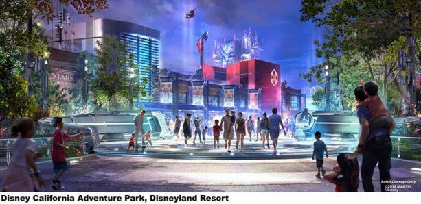 Concept art for a Marvel-centric attraction area at Disneyland Resort (Photo: Disney Parks Blog)