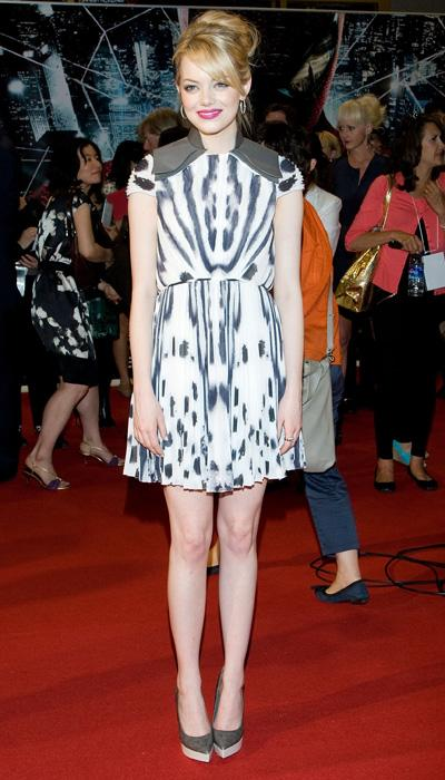 Stone likes to take style risks and it certainly shows here with her Fendi printed mini-dress at the Seoul, South Korea premiere of 'The Amazing Spider-Man.' This dress isn't for everyone; but Stone pulls off the Rorshach-like print with pizazz. (Photo by Han Myung-Gu/WireImage)