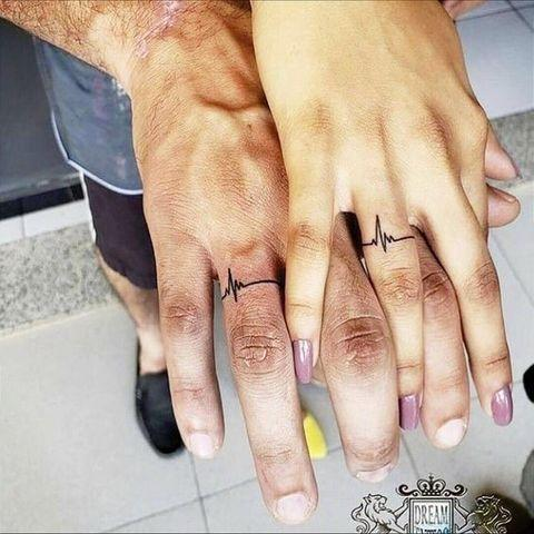 """<p>There's nothing more classic than a heartbeat tattoo—especially if you and your partner place it on your ring fingers. Genius, honestly.</p><p><a href=""""https://www.instagram.com/p/B_dRd6olWRy/"""" rel=""""nofollow noopener"""" target=""""_blank"""" data-ylk=""""slk:See the original post on Instagram"""" class=""""link rapid-noclick-resp"""">See the original post on Instagram</a></p>"""