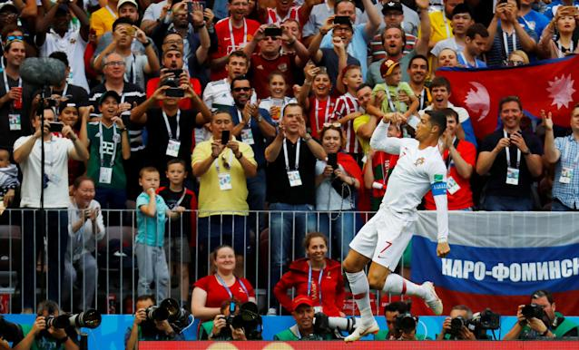 Soccer Football - World Cup - Group B - Portugal vs Morocco - Luzhniki Stadium, Moscow, Russia - June 20, 2018 Portugal's Cristiano Ronaldo celebrates scoring their first goal REUTERS/Kai Pfaffenbach TPX IMAGES OF THE DAY
