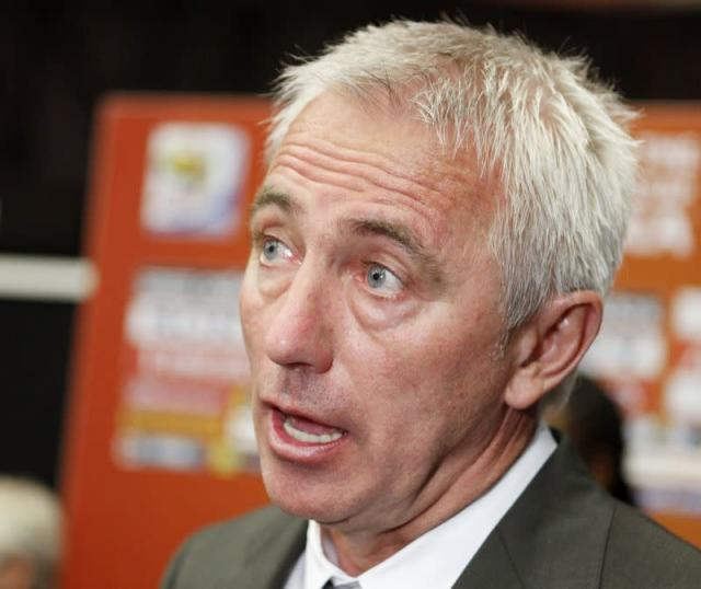 Netherlands national soccer coach van Marwijk speaks to the media after the draw for the 2010 World Cup in Cape Town