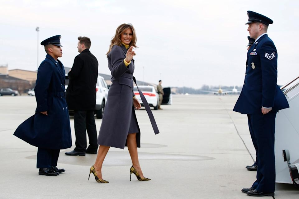 melania trump, manolo blahnik fall 2018 plaid pumps
