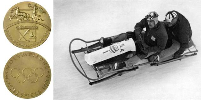 <p>The medals for the 1936 Winter Olympics feature a Goddess of Victory in an ancient chariot. The Games were held in Garmisch-Partenkirchen, Germany, three years before the start of World War II.<br> (IOC photo: United States gold medalists for the Two-Man Bobsled, February 1936/photo by STAFF/AFP/Getty Images) </p>