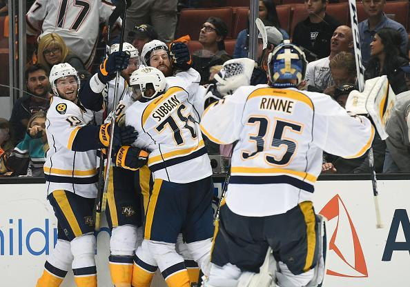 "ANAHEIM, CA – MAY 12: <a class=""link rapid-noclick-resp"" href=""/nhl/teams/nas/"" data-ylk=""slk:Nashville Predators"">Nashville Predators</a> Right Wing <a class=""link rapid-noclick-resp"" href=""/nhl/players/3818/"" data-ylk=""slk:James Neal"">James Neal</a> (18) celebrates with Nashville Predators Defenceman <a class=""link rapid-noclick-resp"" href=""/nhl/players/4558/"" data-ylk=""slk:P.K. Subban"">P.K. Subban</a> (76), Nashville Predators Defenceman <a class=""link rapid-noclick-resp"" href=""/nhl/players/5329/"" data-ylk=""slk:Mattias Ekholm"">Mattias Ekholm</a> (14), Nashville Predators Center Calle Jarnkrok (19), .and Nashville Predators Goalie Pekka Rinne (35) after scoring the game winning goal in the first overtime period during game 1 of the 2017 NHL Western Conference Final between the Nashville Predators and the <a class=""link rapid-noclick-resp"" href=""/nhl/teams/ana/"" data-ylk=""slk:Anaheim Ducks"">Anaheim Ducks</a> on May 12, 2017 at Honda Center in Anaheim, CA. The Predators defeated the Ducks 3-2 in overtime. (Photo by Chris Williams/Icon Sportswire via Getty Images)"