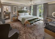 """<p>For a hotel suite to make you swoon, look no further than the super-luxe <a href=""""https://go.redirectingat.com?id=127X1599956&url=https%3A%2F%2Fwww.booking.com%2Fhotel%2Fgb%2Fmandarin-oriental-hyde-park-london.en-gb.html%3Faid%3D2070929%26label%3Dhotel-suites-london&sref=https%3A%2F%2Fwww.redonline.co.uk%2Ftravel%2Fg37383631%2Fhotel-suites%2F"""" rel=""""nofollow noopener"""" target=""""_blank"""" data-ylk=""""slk:Mandarin Oriental Hyde Park"""" class=""""link rapid-noclick-resp"""">Mandarin Oriental Hyde Park</a>'s Hyde Park Suite. Overlooking the treetops of Hyde Park and South Carriage Drive, where the Queen's horses are often spotted trotting along, you'll feel a world away from the five-star hotel's Knightsbridge setting from the moment you step inside this suite. </p><p>The work of designer Joyce Wang, the suite oozes the modern elegance and glamour you'd expect from the luxury Chinese hotel brand, along with its superb surroundings, with clever touches such as the carpet inspired by the light reflecting on the Serpentine, the illuminated 'acorns' chandelier and pops of leaf green in a nod to its Hyde Park location.</p><p>Every detail has been covered, from the Diptyque toiletries to the sustainable amenities (even the wooden toothbrush and cotton buds), the GHD hairdryer and a yoga mat rolled up in the generous wardrobe for you to use during your stay. The marble bathroom is an utter joy to experience, featuring a Japanese-style toilet (with all the buttons), a shower so spacious it has its own mirror and a bath for relaxing. </p><p>The bedroom offers space to sleep, dress and pamper yourself, with views of the park from the king-sized bed. Meanwhile, the living space has sophisticated spaces to unwind, a bar, leather-topped desk, a library and fireplace. </p><p><strong>From £4,200 per night</strong></p><p><a class=""""link rapid-noclick-resp"""" href=""""https://go.redirectingat.com?id=127X1599956&url=https%3A%2F%2Fwww.booking.com%2Fhotel%2Fgb%2Fmandarin-oriental-hyde-park-london.en-gb.html"""